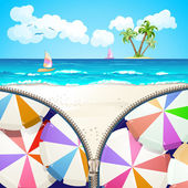 Summer beach covered by zipper — Stock Vector
