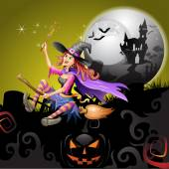 Halloween čarodějnice létající koště — Stock vektor