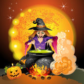 Witch preparing a potion — Stock Vector