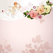 Cartão de dia dos namorados com rosas, corações e cupido — Vetor de Stock