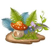 House for gnome made from mushroom — Stockvektor