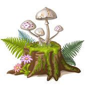 Mushroom on cut tree trunk — Cтоковый вектор