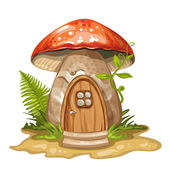 House for gnome made from mushroom — Stock Vector