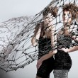 Two girls with net — Stock Photo #54734373
