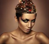 Woman with chocolate in head — Stock Photo