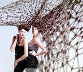 Girls with nets — Stock Photo