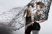 Two girls with net — Stock Photo