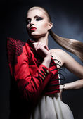 Woman with long tail and red lips — ストック写真