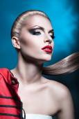 Woman with red lips and long tail — Foto Stock