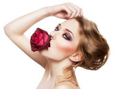 Beautiful woman and red rose — Stock Photo