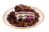Christmas cake with coffee grains — Stock Photo