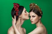 Two beautiful woman with jewels — Stock Photo