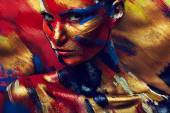 Skin of girl in colourful paint — Stock Photo