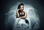 Transvestite in white wear — Foto Stock