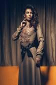 Woman in long dress — Stock Photo
