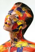 Woman with bodyart on face — Stock Photo