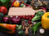 Fresh vegetables and spices — Stock Photo