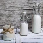 Glass Bottles of milk — Stock Photo #65987195