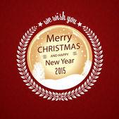 Merry christmas wish in circular badge — Stockvektor