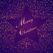 Purple christmas star, with small paper, illustration — Vettoriale Stock
