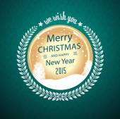 Merry christmas wens in circulaire badge — Stockvector