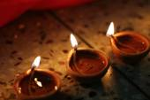 Traditional diwali lamps — Stock Photo