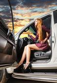 Woman   in a car — ストック写真