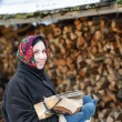 Woman in ethnic costume with firewood — Stock Photo #60592743