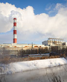 Winter view of the thermal power plant — Stock Photo