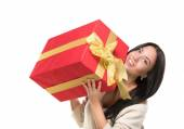 Attractive girl holding a big red box off gift — Stock Photo