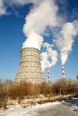 Day view of power plant, smoke from the chimney — Stock Photo