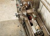 Industrial area  works at  lathe — Stok fotoğraf