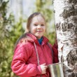 Little girl collects birch sap in woods — Stock Photo #70300901