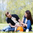 Happy young couple and  dog — Stock Photo #72582837