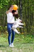 Portret piękna, młoda dziewczyna z jej psów — Zdjęcie stockowe