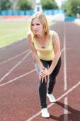 Portrait of healthy girl working out and running — Stock Photo