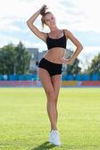 Woman doing  workout — Stock Photo