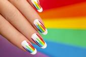 Rainbow manicure. — Stock Photo