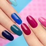 Blue pink manicure. — Stock Photo #59792387