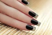 Black French manicure. — Stock Photo
