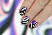 Striped manicure. — Stock Photo