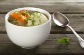 Soup with dumplings — Stock Photo