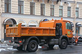 Now removal machines on the street on January 25, 2015 in Saint-Petersburg — Stock Photo
