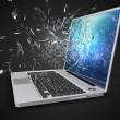 Laptop with broken screen isolated on background — Stock Photo #67723497