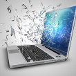Laptop with broken screen isolated on background — Stock Photo #67723521