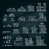 Set of hand drawn houses.Different building collection. EPS 10 vector — Stock Vector