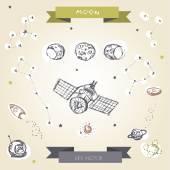 Decorative space collection. Hand drawn galaxy symbols set. — Stock Vector