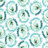 Vector abstrakt akvarell virvlar seamless mönster. Blå cirklar kakel bakgrund — Stockvektor