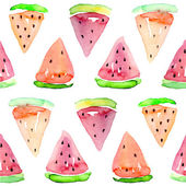 Watercolor seamless watermelon pattern. Vector — Stockvektor