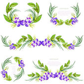 Watercolor floral design elements. Brushes, borders, wreath,garland. Vector — Stock Vector